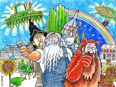 David and friends drawn as characters from The Wizard of Oz