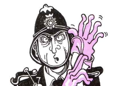 A drawing of a police officer putting on pink rubber gloves.