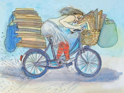 Watercolour and ink painting of Eloise on a bicycle stacked with picture frames.