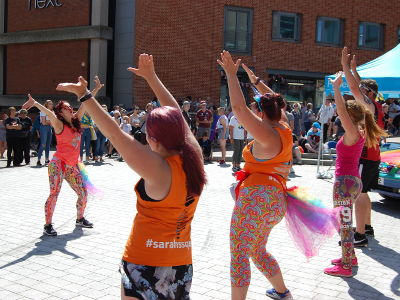 A dance performance outside the Forum in Norwich.