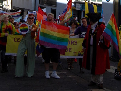 The front of the Norwich Pride parade in Pottergate.