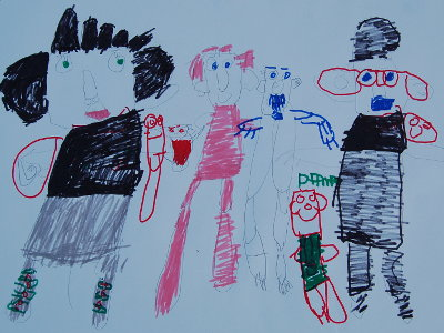 A drawing of five models by one of the Sprowston Road artists.